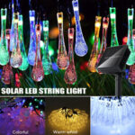 New              32FT 10M 100LED Solar Water Drop Fairy String Light Outdoor Garden Party Christmas Lawn Lamp Decor