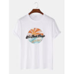 New              Cotton Breathable Cartoon Landscape Print Short Sleeve T-Shirts