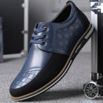 New              Men Microfiber Leather Splicing Non Slip Soft Business Casual Shoes