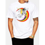 New              Mens 100% Cotton Astronaut Planet Print Round Neck Casual Short Sleeve T-Shirts