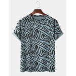 New              Abstract Pattern Letter Printed Round Neck Cotton Short Sleeve T-Shirts