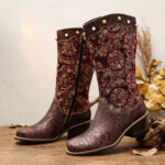 New              SOCOFY Exquisite Embroidery embossed Genuine Leather Low Heel Mid Calf Boots