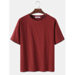 New              Solid Color Flax Breathable Round Neck Short Sleeve T-Shirts