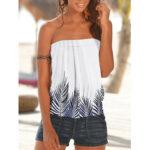 New              Women Summer Leaf Print Strapless Sleeveless Tube Tank Top