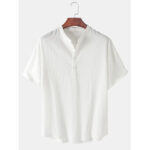 New              Mens Solid Color Stand Collar Short Sleeve Simple Henley Shirts