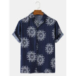 New              Mens Ethnic Pattern Print Summer Casual Loose Light Short Sleeve Shirts