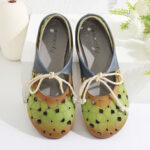 New              SOCOFY Comfy Leather Hollow Round Toe Soft Sole Mules Lace up Flat Shoes