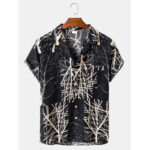 New              Mens Cotton Abstract Tree Print Loose Light Chest Pocket Short Sleeve Shirts