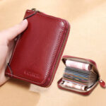 New              Women 12 Card Slots Rfid Genuine Leather Short Zipper Coin Purse Wallet