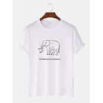 New              Simple Elephant & Letter Print Round Neck Loose Short Sleeve T-Shirts