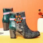 New              SOCOFY Elegant Flower Lace Deco Round Toe Block Heel Warm Lined Side-zip Ankle Boots