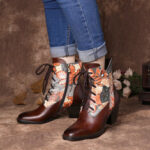 New              SOCOFY Retro Print Flowers Pattern Stitching Lace-up Zipper High Heel Combat Boots