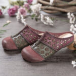 New              SOCOFY Distressed Leather Burnished Cutout Splicing Flat Mules Clogs Slip-on Sandals