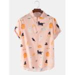 New              Mens Halloween Funny Animal Pumpkin Figure Print Loose Casual Short Sleeve Shirts