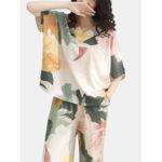 New              Plus Size Women 100% Cotton Allover Flower Print Two Pieces Pajama