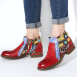 New              SOCOFY Leather Floral Pattern Non-slip Round Toe Block Heel Zipper Chelsea Ankle Boots
