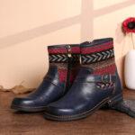 New              SOCOFY Warm Lined Winter Boots Geometric Pattern Adjustable Zipper Block Heel Ankle Booties