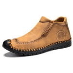 New              Menico Men Rubber Toe Hand Stitching Leather Slip Resistant Soft Casual Slip On Boots