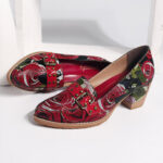New              SOCOFY Genuine Leather Bloom Rose Pattern Comfortable Elegant Casual Dress Pumps
