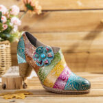 New              SOCOFY Retro Floral Leather Splicing Zipper Chunky Heel Pumps Dress Shoes