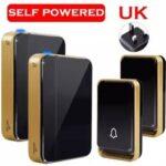 New              SMATRUL UK Plug Wireless DoorBell Self Powered No battery Need Waterproof 150M Home Smart Cordless Door Bell Ring 1 2 button 1 2 Receiver Night Light 110v 220V 240V