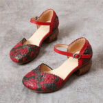 New              SOCOFY Retro Leather Embossed Floral Buckle Ankle Strap Block Heel D'orsay Pumps