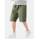 New              Cotton Mens Solid Color Multi Pocket Drawstring Loose Shorts