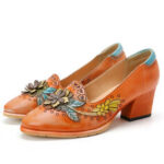 New              SOCOFY Retro Splicing Floral Leather Slip On Block Heel Pumps Dress Shoes