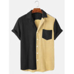 New              Banggood Designed Mens Loose Corduroy Button Down Patchwork Pocket Breathable Casual Shirts