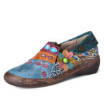 New              SOCOFY Retro Colorful Floral Splicing Fancy Pattern Side Zipper Leather Flat Shoes