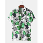 New              Mens Plant Leaf Printed Light Casual Revere Collar Short Sleeve Shirts