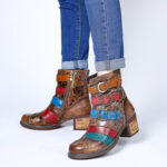 New              SOCOFY Retro Printing Roses Metal Buckle Genuine Leather Splicing Low Heel Short Boots