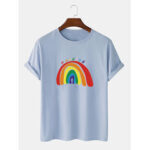 New              Rainbow Print 100% Cotton Breathable Short Sleeve T-Shirts
