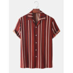 New              Mens Striped Print Casual Loose Light Revere Collar Short Sleeve Shirts