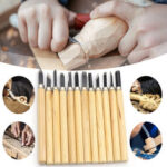 New              12Pcs Wood Carving Tool Kit Woodworking Tools Chisel Knife Wood Gouge Hand Engraving Machete Angle Cutter DIY Tools