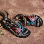 New              SOCOFY Vintage Leather Floral Cutout Adjustable Strap Slip on Mules Clogs Flat Slides Sandals