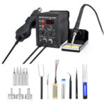 New              NEWACALOX 878D 700W Desoldering Hot Air BGA Rework Soldering Station Electric Soldering Iron Kit DIY Welding Tools