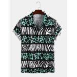 New              Mens Leopard Zebra Print Light Casual Revere Collar Short Sleeve Shirts