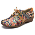 New              SOCOFY Paisley Retor Floral Splicing Folkways Style Round Toe Lace Up Flat Shoes