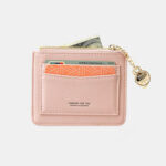 New              Women Solid 5 Card Slots Hardware Mini Wallet Purse