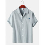 New              Mens Pinstripe Cotton Revere Collar Casual Short Sleeve Shirts With Pocket