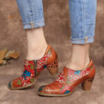 New              SOCOFY Leather Floral Splicing Stitching Zipper Chunky Heel Pumps Dress Shoes