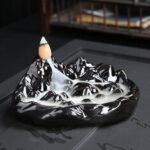 New              Porcelain Backflow Ceramic Cone Incense Burner Holder Buddhist Cones Home Gift