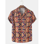 New              Mens Cotton Baroque Print Breathable Light Casual Short Sleeve Shirts
