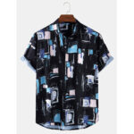 New              Mens Floral Print Colorblock Breathable Holiday Short Sleeve Shirts