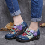 New              SOCOFY Retro Colored Flowers Embossed Comfy Genuine Leather Flat Shoes