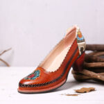 New              SOCOFY Retro Flower Genuine Leather Slip On Sequin heel Pumps