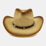 New              Unisex Sunscreen Beach Travel Sun Hat Western Cowboy Style Spray Painting Wide Brim Straw Hat