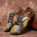 New              SOCOFY Retro Embossed Flower Splicing Floral Hollow Lace Up Slip On Flat Shoes