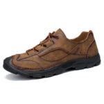 New              Men Outdoor Stitching Leather Non Slip Soft Sole Retro Casual Shoes